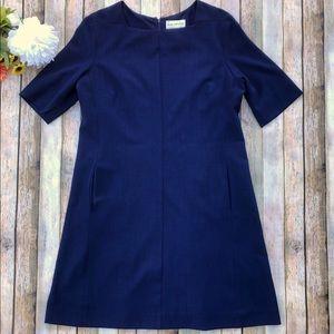 M.M. Lafleur Dark Blue fitted short sleeve dress